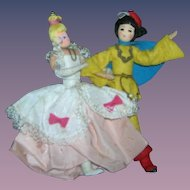 Vintage German BAPS Dolls of Cinderella and Prince Charming Set