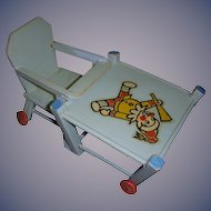 Vintage Blue Wooden Doll High Chair/Play Table!