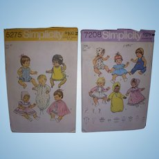 "2 Simplicity Vintage Patterns for Betsy Wetsy, Tiny Tears, Other Baby Dolls 16""- 18"" Dolls."