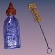 Vintage Canadian Glass Reliable Doll Baby Bottle & Brush!