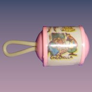 "Vintage Celluloid Small Baby Doll Rattle with ""Cinderella""!"