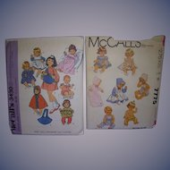 """2 McCall's Vintage Patterns for Baby Dolls & Toddler 14""""- 17"""" Dolls."""