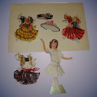 """1911 Vintage Paper Doll Sheet """"Polly's Paper Playmates"""" Boston Post"""