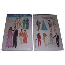 2 Vintage Doll Patterns for Barbie & Ken Matching Fashion - Red Tag Sale Item