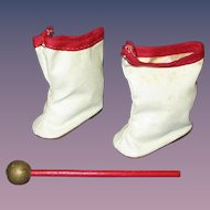 Vintage 1950s Majorette Doll Boots and Baton