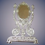 Vintage German Soft Metal Ornate Vanity Mirror