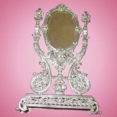 Vintage German Soft Metal Ornate Vanity Mirror