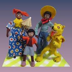 "Vintage German BAPS Dolls ""Little Black Sambo Set of 4"""