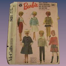 Vintage Official Mattel Barbie Fashion Pattern