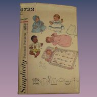Vintage Simplicity Thumbelina Layette Doll Pattern #4723