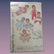Vintage Simplicity Tiny Tears Doll Pattern #3669