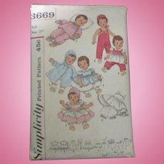 Vintage Simplicity Tiny Tears Doll Pattern #3669