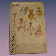 Vintage Simplicity Tiny Tears Doll Pattern #4727