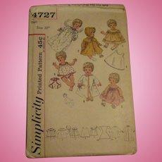 Vintage Simplicity Tiny Tears Doll Pattern #4727
