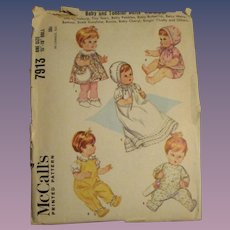Vintage McCall's Baby & Toddler Doll Pattern #7913