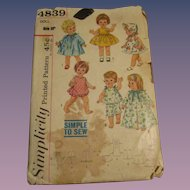 Vintage Simplicity Baby & Toddler Doll Pattern #4839