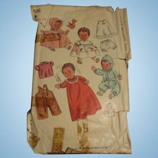 Vintage Simplicity Baby Doll Pattern #3406