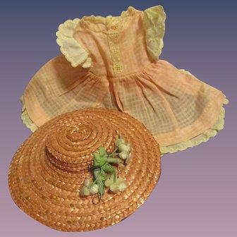 1930s Madame Alexander Vintage McGuffey Ana Dress and Hat Set