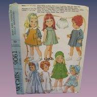 Vintage McCall's Baby & Toddler Dolls' Wardrobe Pattern #9061