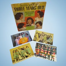 Vintage Original Dionne Quintuplets Lot of Book and 4 Post Cards