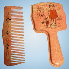 Vintage Celluloid Doll Mirror and Comb Set