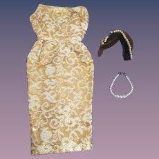 "Vintage Mattel Barbie 1959 #961 ""Evening Splendour"" Dress Headpiece & Pearl Necklace"