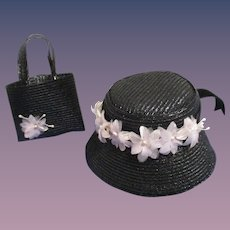 Retro Cissy Style Straw Hat with Matching Purse!