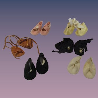 Vintage Lot of 6 Pairs of Small Doll Shoes