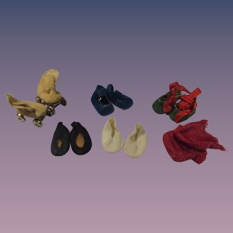Vintage Lot of 6 Pairs of Small Doll Shoes, Socks & Skates
