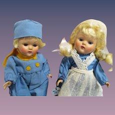 "Vogue Early 1950s Strung Ginny Pair ""Holland Girl & Holland Boy""All Original"