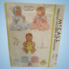 Vintage McCall's Dy-Dee Doll Baby Clothes Pattern #353