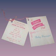 """Vintage Original Madame Alexander """"Baby Precious"""" Tag!"""