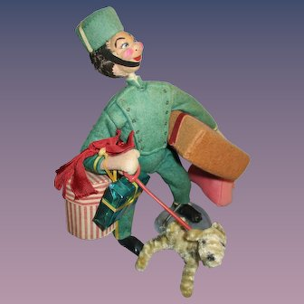 """Vintage Klumpe Character """"Bellhop""""Cloth Doll Made in Spain"""