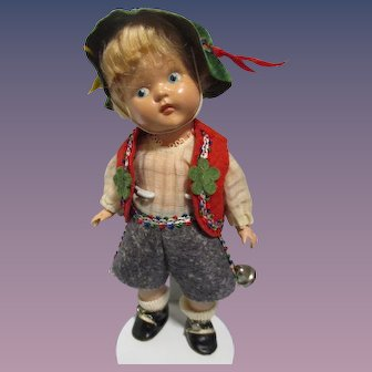 "Vogue 1950-1951 Painted Eye Strung Ginny Doll ""Sven"" All Original"