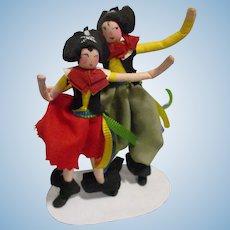 Vintage 1940s Ravca Pair of Pirate Dolls All Original