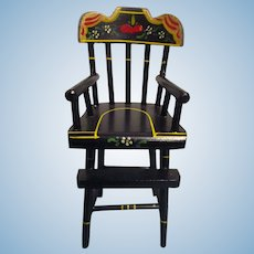 Rare Vintage Black Lacquered Wood Doll High Chair