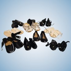 Vintage Lot of 10 Pairs of Doll Shoes