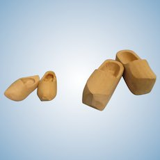 Wooden Doll Shoes Vintage Lot of 2 Pairs