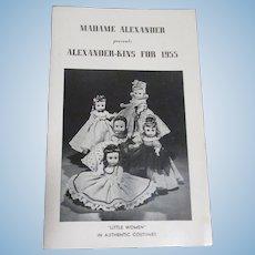 """Vintage Original Madame Alexander """"Alexander-Kins For 1955"""" Booklet"""