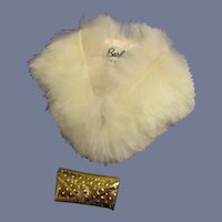 Vintage Mattel Barbie 1962 Fur Stole with Bag Accessory Set