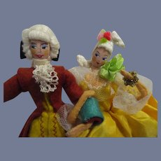 Vintage German Baps French Court Lady and Gentleman Pair of Dolls