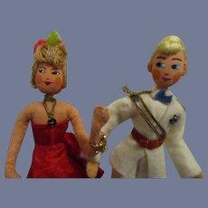 Vintage German Rare Lady and Gentleman Pair of Dolls