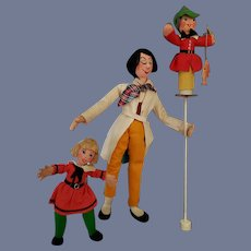 """Vintage Rare German Large Trio of Baps """"Puppeteer with Puppet"""" Dolls"""
