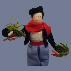 Vintage 1940s Ravca Vegetable Seller Man Doll All Original