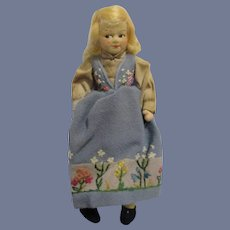 """Vintage 7 1/2"""" Ronnaug Petterssen Cloth Doll All Original with Tag"""