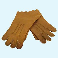 Antique Doll Size Leather Gloves