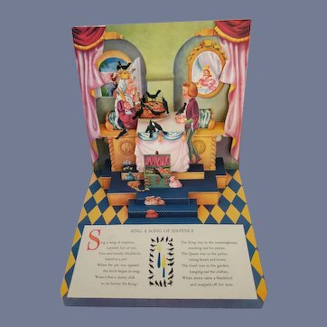 """Vintage 1940's Children's Nursery Rhyme """"Sing a Song of Sixpence"""" POP Up Book by Geraldine Clyne"""