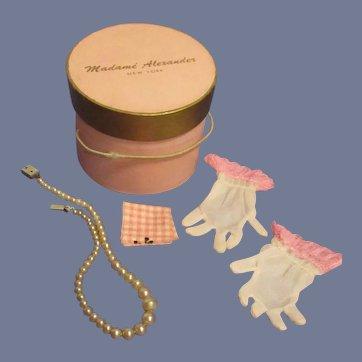 Vintage Original 1950s Madame Alexander Cissy Pink Hat Box with Accessories