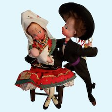 Vintage Klumpe Character Cloth Doll Couple Made in Spain