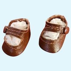 Vintage Madam Alexander Original Brown Side Snap Shoes
